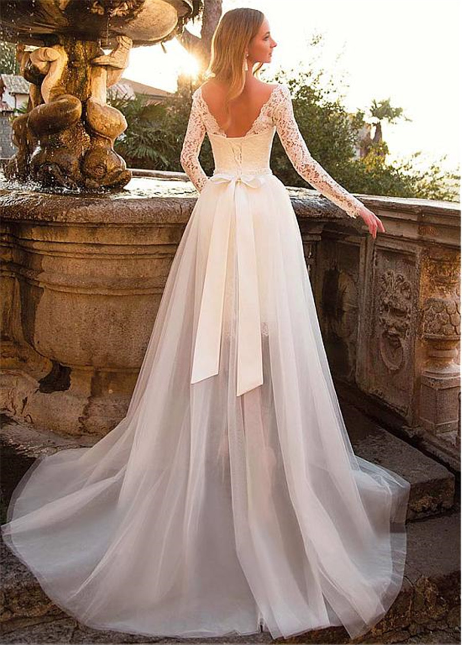 Image 4 - Tulle & Lace Bateau Neckline 2 In 1 Wedding Dress With Belt & Detachable Skirt Two Pieces Long Sleeves Bridal Dress-in Wedding Dresses from Weddings & Events