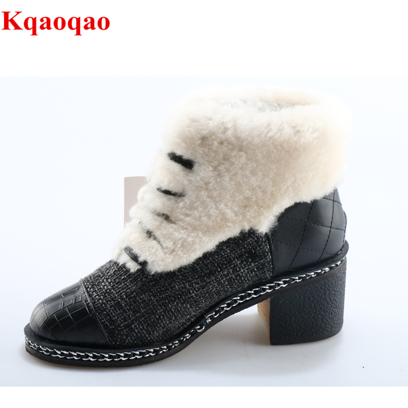 все цены на New Mixed Color White Fur Women Winter Warm Boots Front Lace Up Shoes Med Heel Short Booties Luxury Brand Super Star Snow Boots онлайн