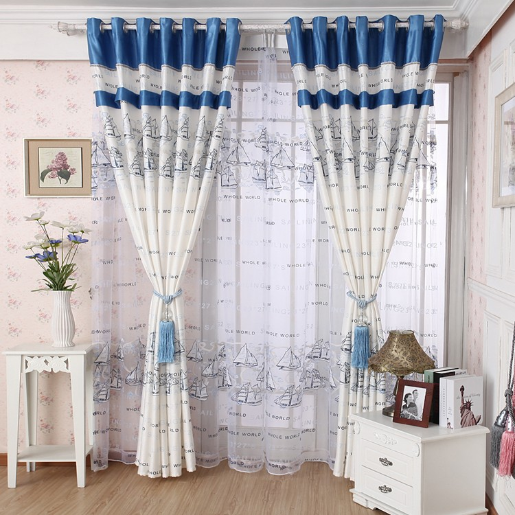Curtain quality living room curtain finished product cloth sailing boat blue white kitchen cafe curtains - Your Home Tailor store