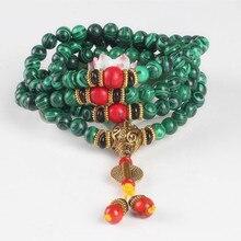Ubeauty 8mm 108 cuentas de piedra malaquita pulsera de Buda Tibetano de Meditación oración pulseras mujeres collar de piedra verde