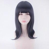 SSSS.GRIDMAN Takarada Rikka Cosplay Wigs Anime Hair Cosplay Props Women Black navy neat bang Long Hair