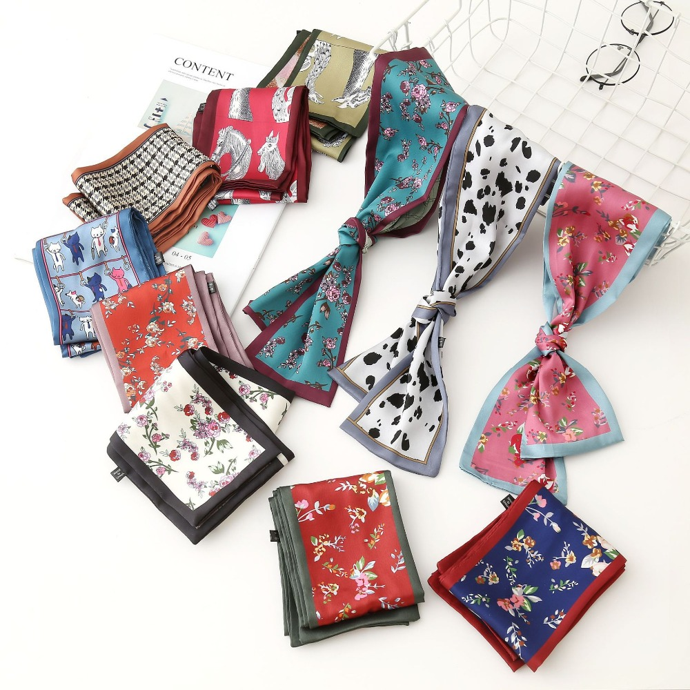 2019 New Floral Print Women Silk Riband Handbag   Scarf   Small Ribbon Hair Band Headband   Scarves   &   Wraps   Hair accessories
