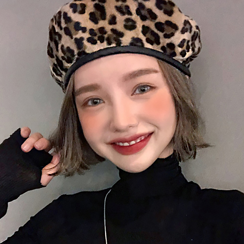 Fascinator Womens Wool Leopard Berets Painter 39 s Hat Autumn Winter Baret Flat Cap Cute Beret Hats for Women Leopard Hat WH044 in Women 39 s Berets from Apparel Accessories