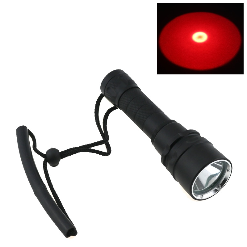 Red Light CREE Q5 LED Waterproof underwater scuba Diver Diving Flashlight Torch light lamp stepless dimming For 18650 Battery