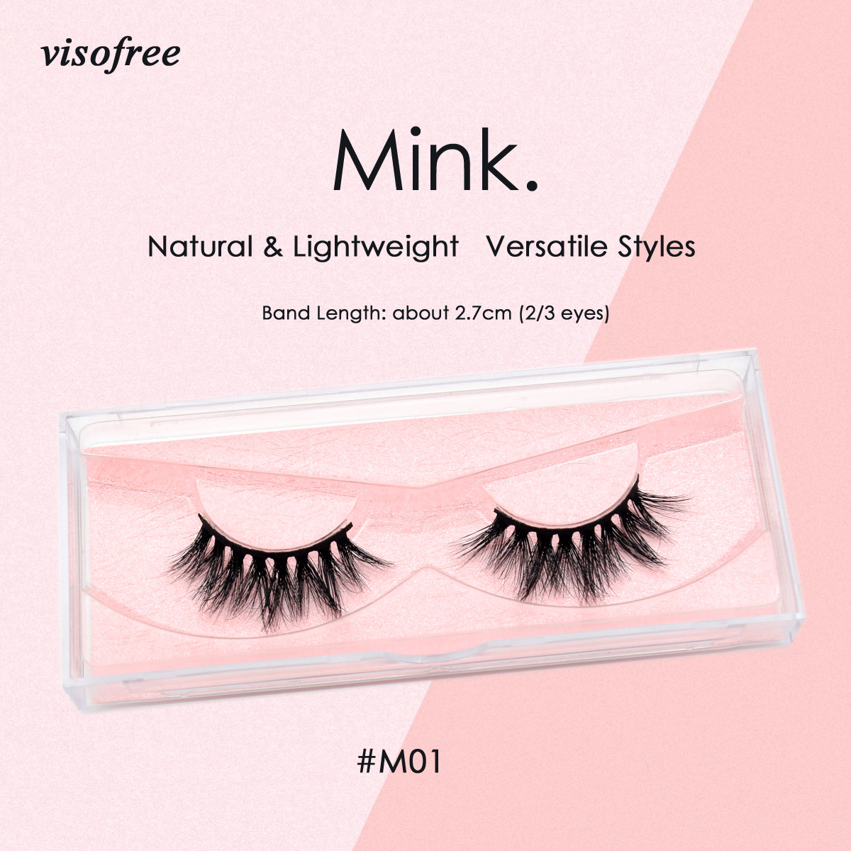 Visofree Lashes 3D Mink Lashes Cruelty Free Mink False Eyelashes 2/3 Eyes Crisscross Mink Eyelashes For Makeup Faux Cils M01