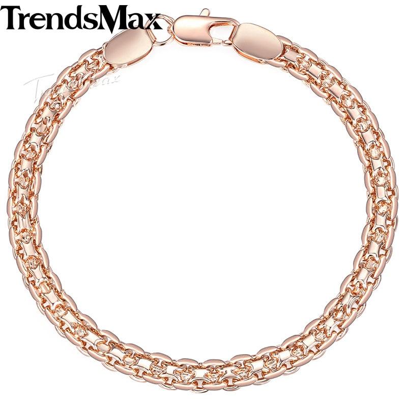 Trendsmax Dames Armband Weven Bismark Link 585 Rose Gold Filled - Mode-sieraden