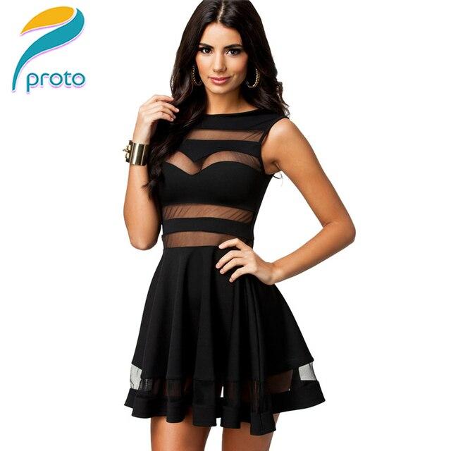 92176b18e22 STOCK negro 2015 Vestido De verano De malla túnica Skater Mini Vestido