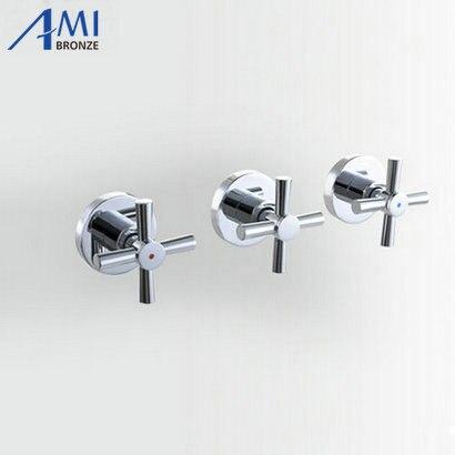 shower faucet valve 3 handwheel fourway 2 outlets bathroom bath mixer tap in