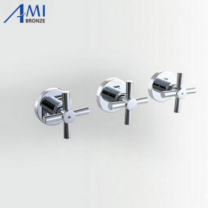 Shower Faucet Valve 3 Handwheel Four way 2 Outlets Bathroom Bath Mixer Tap In wall