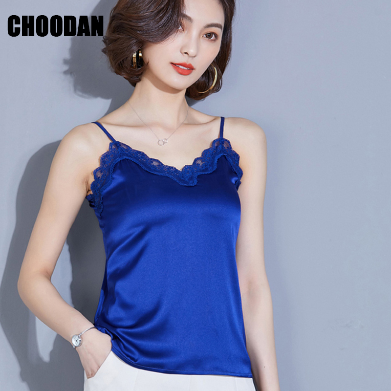 9c70a531092 Satin Camisole Tank Tops Women Lace Patchwork Sexy Sleeveless Summer Top  2018 Korean Royal Blue Female Basic Shirt Ladies Camis-in Camis from Women s  ...