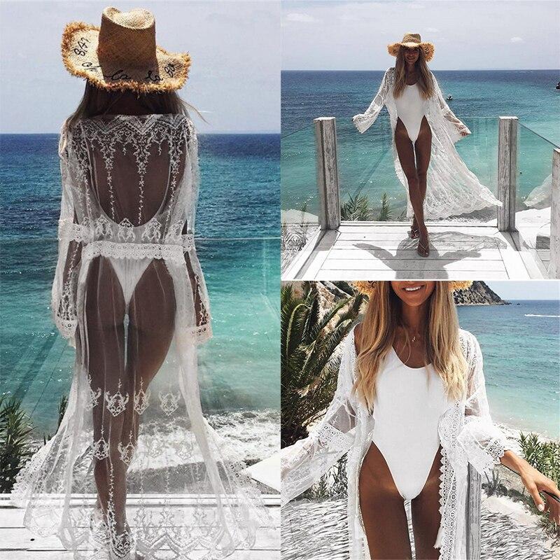 Women Bikini Beach Cover-up Swimsuit Covers Up Bathing Suit Summer Beach Wear Chiffon Cardigan Swimwear Beach Dress Tunic Robe