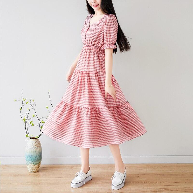Pengpious college girls cotton linen dress v neck fashion summer girls dress checked printing
