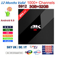 H96 Pro+ 3GB/32GB TV BOX S912 Android 6.0 HD Smart tv box+1 Year Arabic French UK Italy iptv europe server 1000+ Channels Canal+