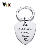 Vnox Classic Stainless Steel Heart Key Chains for Men Male Dad Brother Family Love Accessory(China)