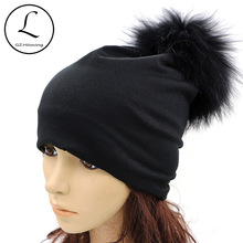 GZHILOVINGL Womens Beanie 2017 Spring Thin Ladies Womens Solid Color Skullies Beanies Real Fur Pom Pom Hats Black Gray Caps