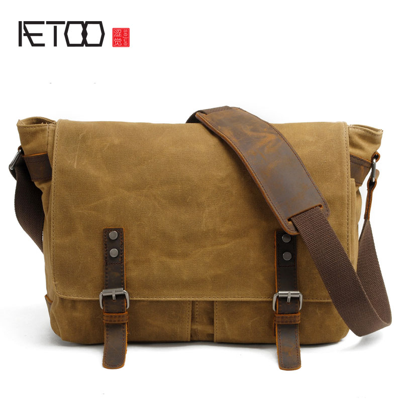 Фотография AETOO New men bag casual shoulder bag oil wax canvas with crazy horse leather bag waterproof Messenger bag  retro