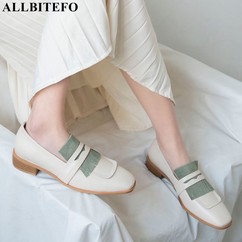 ALLBITEFO hot sale genuine leather women medium heel shoes woman spring fashion girls comfortable breathable women heels shoesALLBITEFO hot sale genuine leather women medium heel shoes woman spring fashion girls comfortable breathable women heels shoes