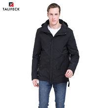 2019 New Men Jacket Spring Cotton Padded Coat Autumn Mens Casual Coats Hooded Parka Detachable Hood Outwear Russian Style