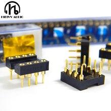 Hifivv 오디오 hifi 8 핀 dip 8 ic 소켓 op 앰프 소켓 골드베이스 시트 수입 금 도금 10 pcs 8 핀 피트 ic 칩 소켓