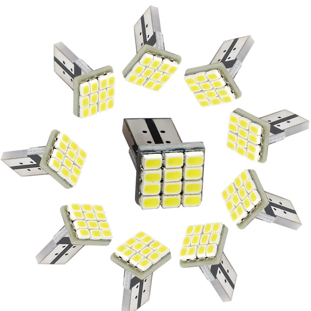 iTimo 10 pieces/pack Car-styling T10 LED Car Clearance Lights Dashboard Lamp White Light Source 1206 12SMD Automobile LED Bulb