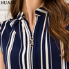 Blue Striped Blouse Shirt Sexy Sleeveless V-neck Summer Top 2018 Office Ladies Work Wear Fitness Female Korean Fashion Clothing 5