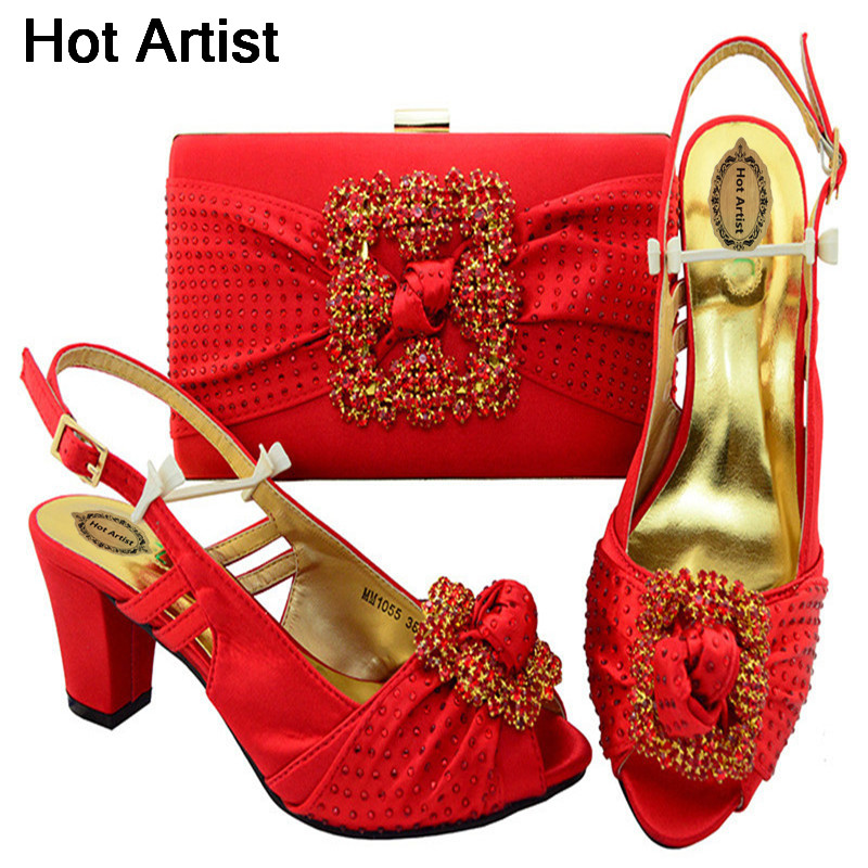 Hot Artist New Italian Style Rhinestone Shoes And Bags Set For Wedding Fashion High Heels Woman Shoes And Special Bag Set MM1055