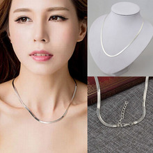 Fashion Simple Smooth Circle Silver Color Necklace For Women Man Snake Bone Chain Jewelry Choker Style Jewelry fashion style double layered rhinestone circle love necklace for women