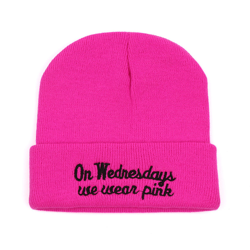 Casual Women Knitted Hats Pink Winter Skullies Embroidery Text Cuff Beanies