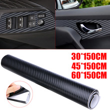 цена на 3D Matte Black Carbon Fiber Vinyl Wrap Sticker Decal Film Air Release 30x150/45x150/60x150cm FOR Car Styling