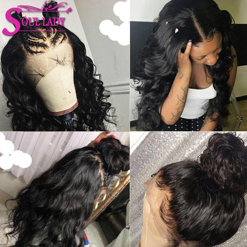 Soul Lady Кружевные передние человеческие волосы парики перуанские объемные волнистые кружевные передние парики предварительно выщипанные с ... - 6