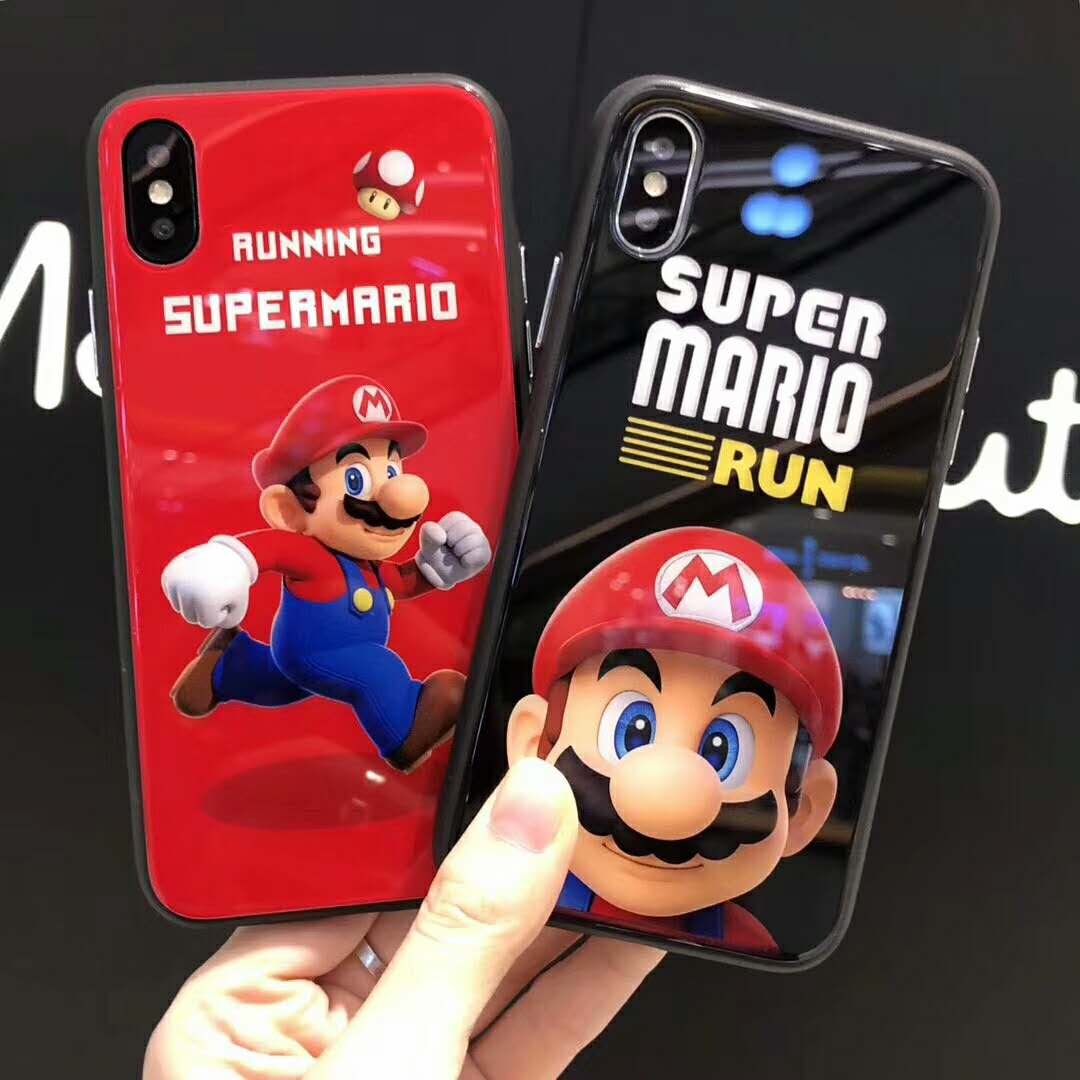 Oranges Seashell Tempered Glass Mirror Running Super Mario Case Soft Edge Phone Case For ...