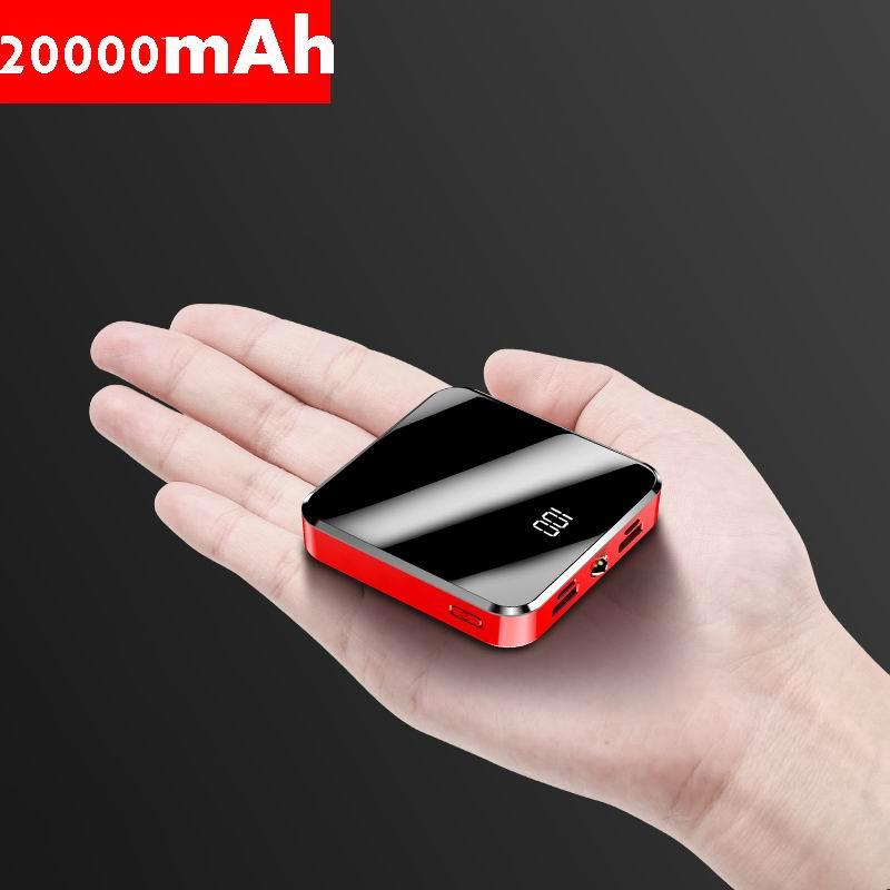 20000 mAh Power Bank Tragbare Ladegerät 2 USB Spiegel Bildschirm Mini Power 20000 mAh Externe Batterie Pack Für Smart Mobile telefon