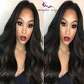 Cheap Good Quality Long Black Wavy Glueless Synthetic Lace Front Wig Heat Resisitant Best Natural Looking African American Wigs