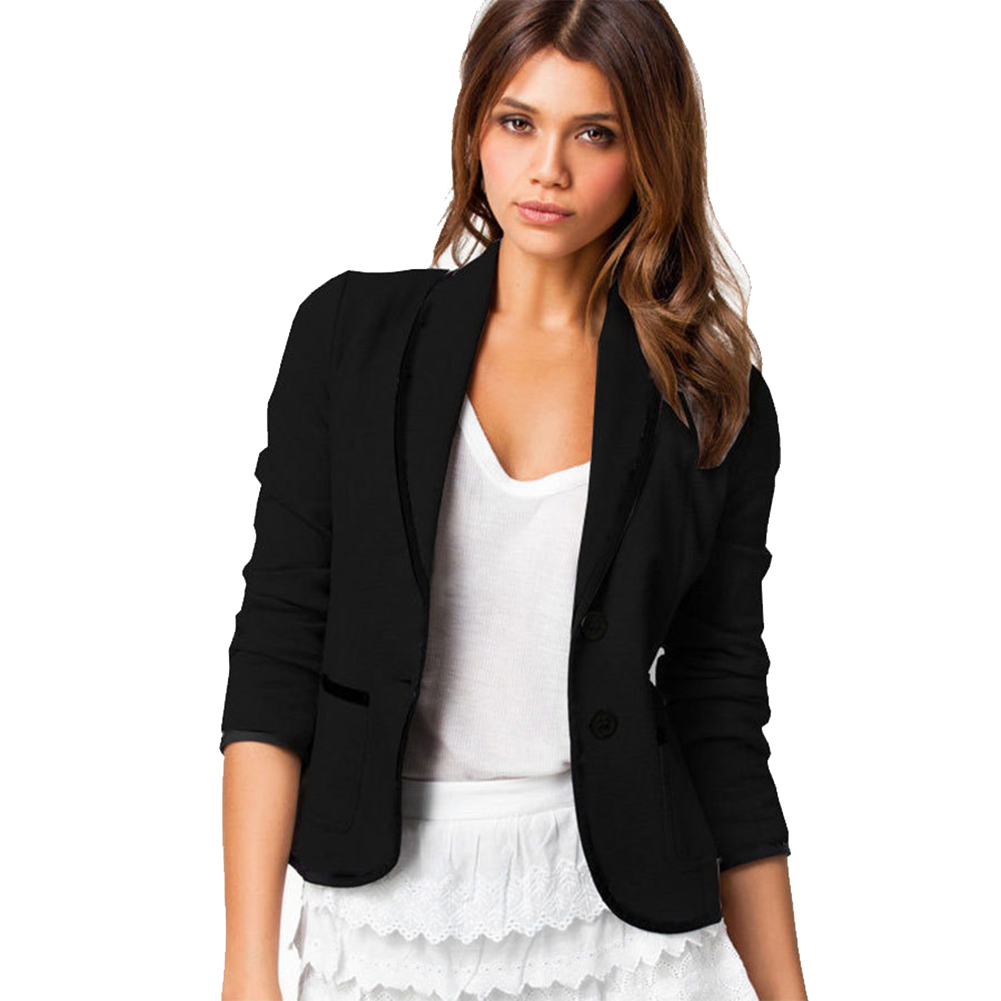 Women Blazer Long Sleeves Lapel Short Coat Jacket Outwear XRQ88
