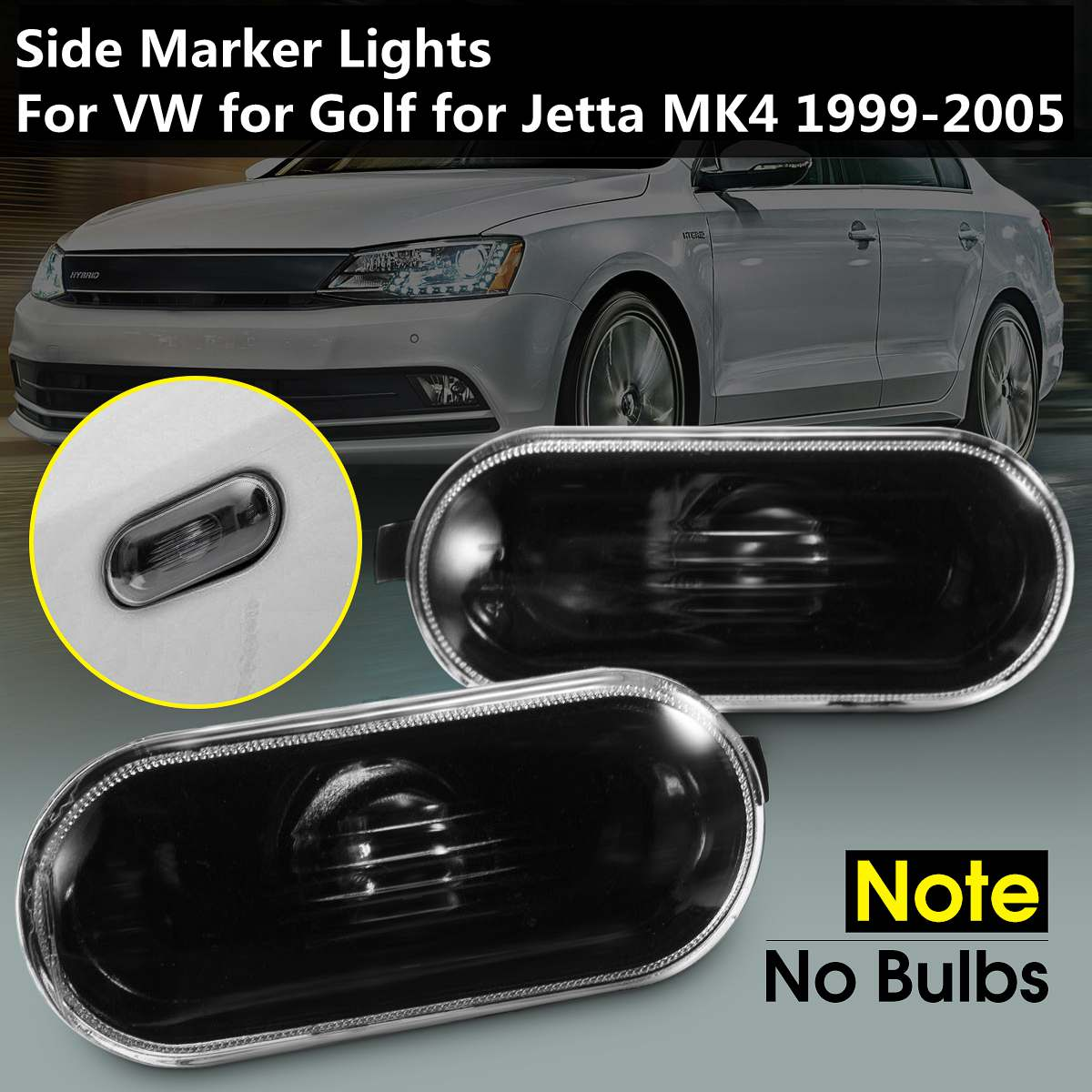 Pair Of Left Right New Black Side Marker Lights Lamp NO Bulbs For VW For Volkswagen Passat 1997-2004 Golf For Jetta MK4 1999-200