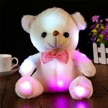 Baba Plüss Játékok Színes LED Villanófény Nagy Panda Baba Bear Ölelni Led Plüss Játék Gyerek Ajándékok Ingyenes házhozszállítás