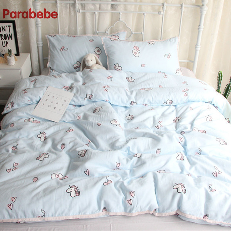 120*150CM 4PC sets thick baby beding unicorn Quilt cover Cartoon sheets pure Cotton Include Duvet Cover Pillowcase Flat Sheet allover grid print pillowcase cover