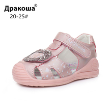 Apakowa/сандалии с закрытым носком для маленьких девочек; летние детские сандалии на липучке; пляжная обувь для путешествий и вечеринок; обувь с супинатором