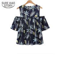 Yeni geldi 2018 yaz gömlek kadın büyük boy rahat bluz kadın kısa gömlek gevşek tops moda dibe D299 30