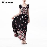 2017 Floral Off Shoulder Flare Sleeve Hollow Printed Geometric Black Summer Maxi Dress Vestidos Femme Party