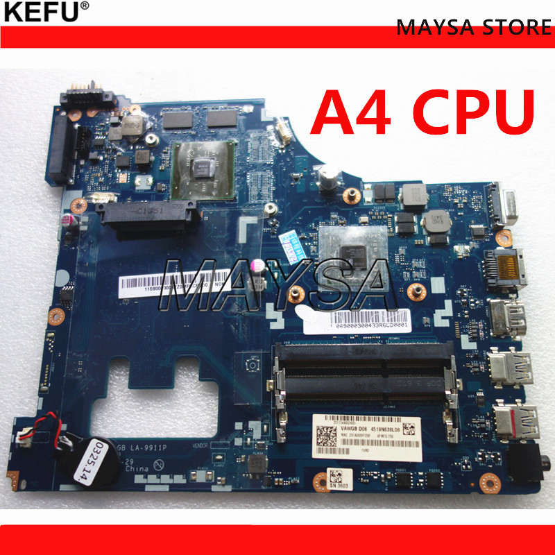 G505 VAWGA/GB LA-9911P motherboard for lenovo g505 motherboard A4 CPU la-9911p motherboard rev:1.0 with CPU 100% tested binful super vawga gb la 9912p laptop motherboard suitable for lenovo g505 notebook pc with e1 2100 cpu