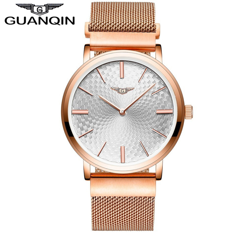 ФОТО GUANQIN GS19026 2017 Men's Watches New Thin Dial Luxury Top Brand Stainless Steel gold case Clock Male Quartz Wrist Watches