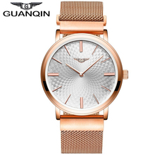 GUANQIN GS19026 2017 Men's Watches New Thin Dial Luxury Top Brand Stainless Steel gold case Clock Male Quartz Wrist Watches