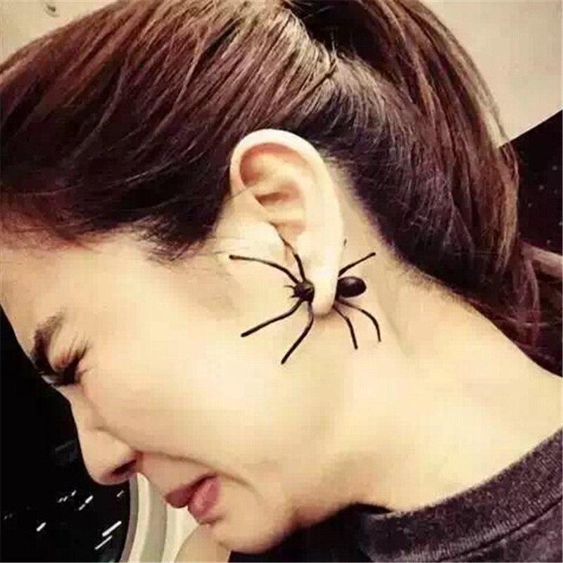 Wholesale 2019 Hot Fashion Brincos Oorbellen Bijoux Maxi Statement Black Paint Spider Punk Stud Earrings For Women Jewelry
