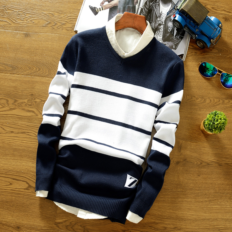 Sweater Autumn And Winter Models Men's Knit Sweater Men's Slim Bottoming V-Neck Sweater Men's Fashion Casual Striped Sweater