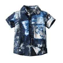 Summer Boys Casual Shirt Abstract Print Blouse Beach Casual Boys Shirt With Half Collar Short Sleeve Boy Shirts For Children Top стоимость