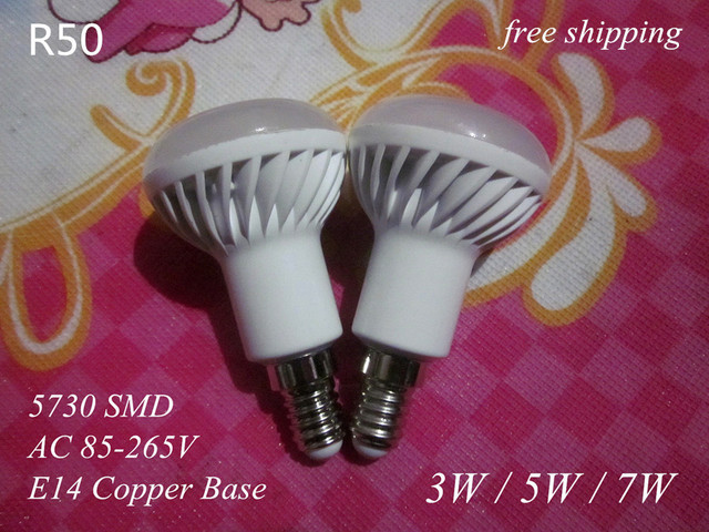 8 pcs E14 / not E27 LED bulb lamp light 85-265V 3W 5W 7W 5730 SMD 110V / 220V cold cool warm white R50 free shipping