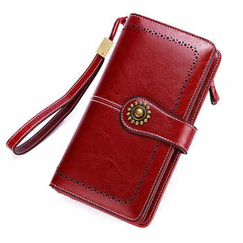 Long Leather Female Clutch Purse Cellphone Bag Coin Wallet Lady Brand Wax Oil Real Genuine Leather Women Wallet Large Money Bag - DISCOUNT ITEM  58% OFF All Category