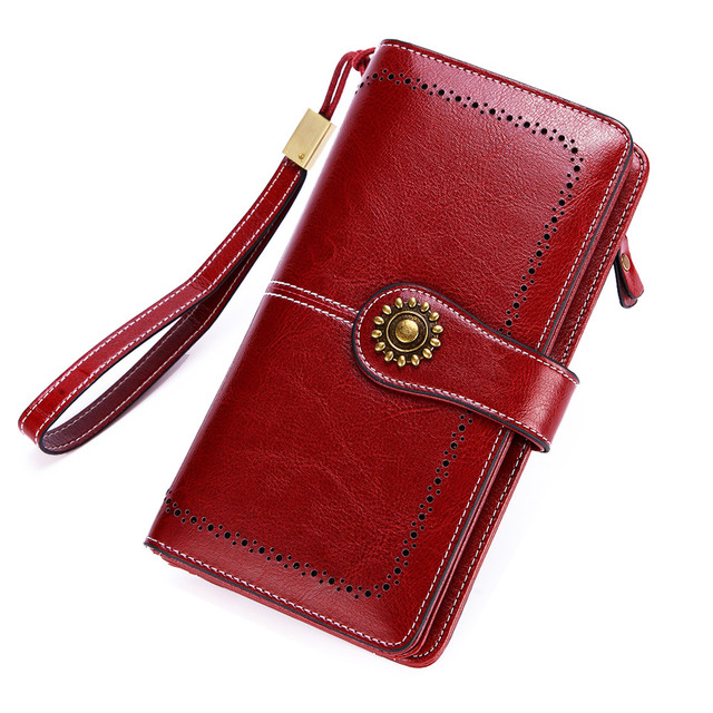 Long Leather Female Clutch Purse Cellphone Bag Coin Wallet Lady Brand Wax Oil Real Genuine Leather Women Wallet Large Money Bag