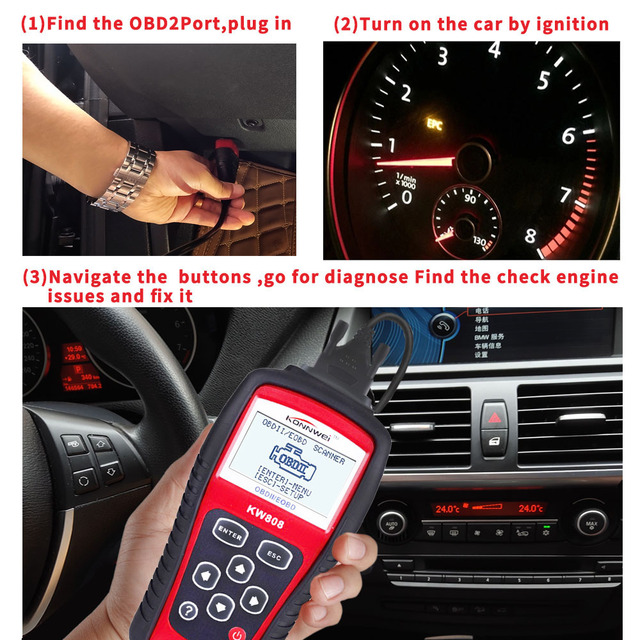 Konnwei KW808 OBD OBD2 Automotive Scanner Fault Code Reader With Multi-language ODB2 Car Diagnostic Tool Auto Scanner